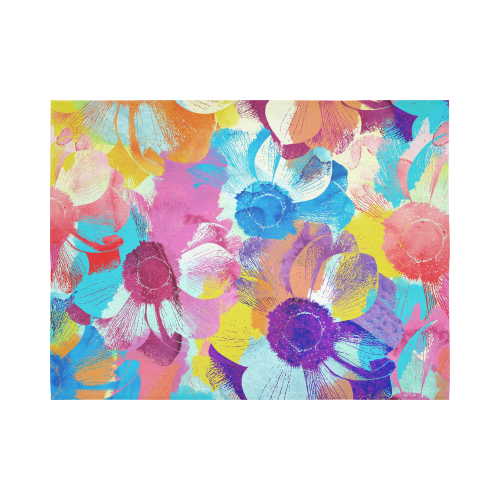 """Anemones Flower Cotton Linen Wall Tapestry 80""""x 60"""""""