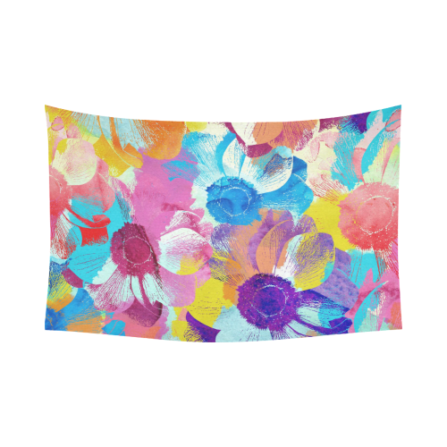 "Anemones Flower Cotton Linen Wall Tapestry 90""x 60"""