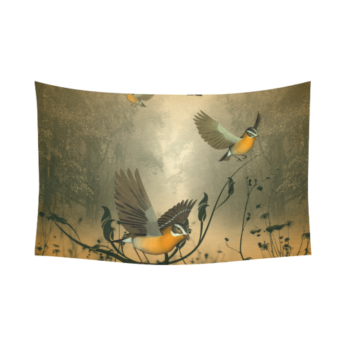 """Birds in the forest Cotton Linen Wall Tapestry 90""""x 60"""""""