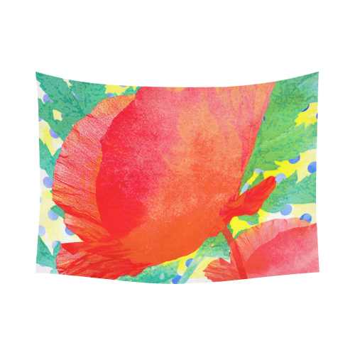 """Poppy and Dots Cotton Linen Wall Tapestry 80""""x 60"""""""
