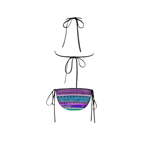 Purple Teal Tribal Pattern Custom Bikini Swimsuit