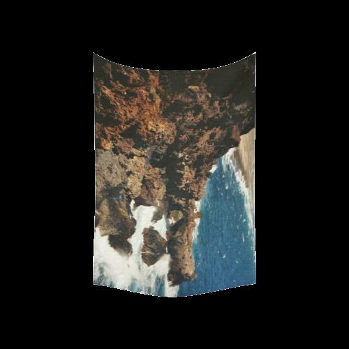 """Aruba, dream beach Cotton Linen Wall Tapestry 60""""x 40"""""""