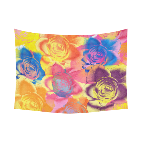 """Roses Cotton Linen Wall Tapestry 80""""x 60"""""""