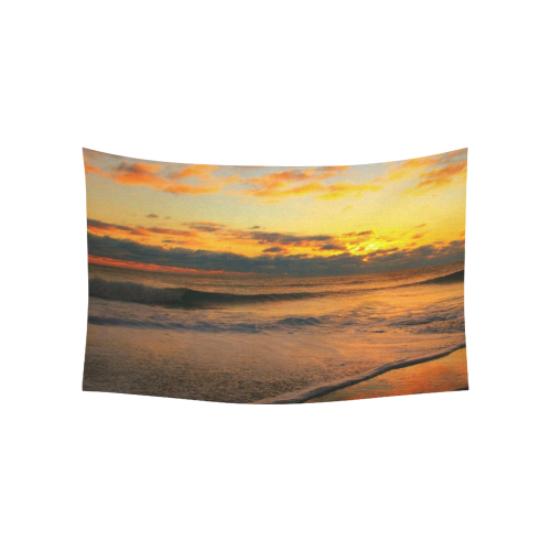 "Stunning sunset on the beach Cotton Linen Wall Tapestry 60""x 40"""
