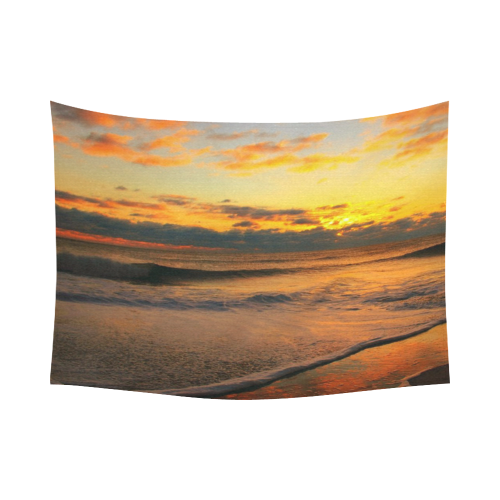 "Stunning sunset on the beach Cotton Linen Wall Tapestry 80""x 60"""