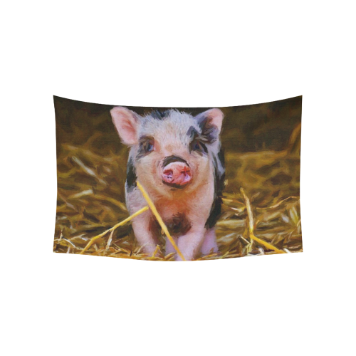 "animal art studio 23516 Piglet Cotton Linen Wall Tapestry 60""x 40"""