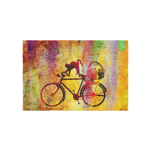 "Cat and Bicycle Cotton Linen Wall Tapestry 60""x 40"""
