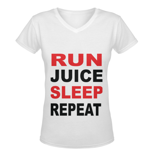 Run Juice Sleep Repeat Women's Deep V-neck T-shirt (Model T19)