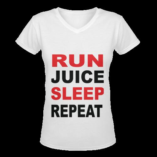 Run Juice Sleep Repeat Women's Deep V-neck T-shirt