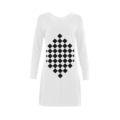 Checkerboard Black and White Demeter Long Sleeve Nightdress (Model D03)
