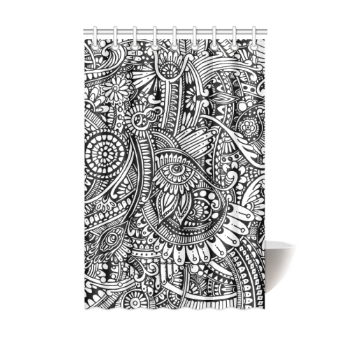 "Black & white flower pattern art Shower Curtain 48""x72"""