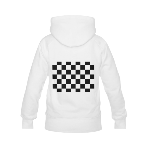 Checkerboard Black and White Women's Classic Hoodies (Model H07)