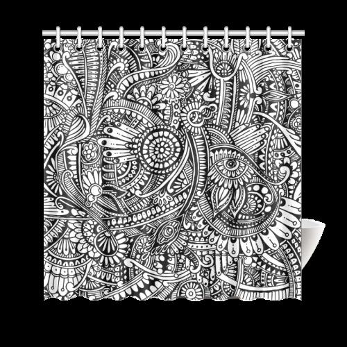"Black & white flower pattern art Shower Curtain 69""x70"""