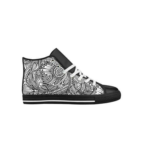 Black & white flower pattern art Aquila High Top Microfiber Leather Women's Shoes (Model 027)