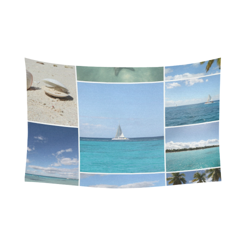 "Isla Saona Caribbean Photo Collage Cotton Linen Wall Tapestry 90""x 60"""