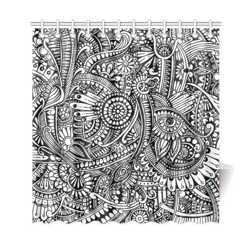 Black & White Flower Pattern shower curtain sizes