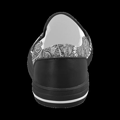 Black & white flower pattern art Women's Slip-on Canvas Shoes (Model 019)