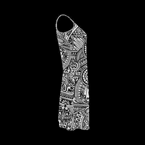 Black & white flower pattern art Alcestis Slip Dress (Model D05)