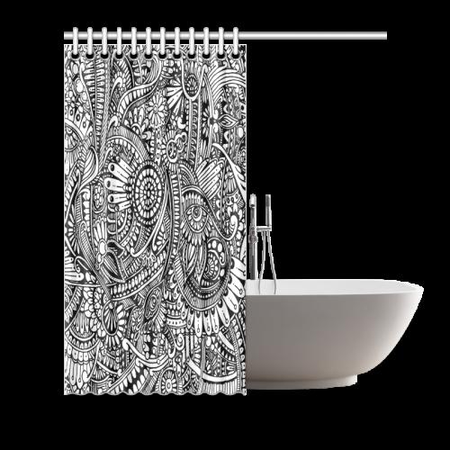 "Black & white flower pattern art Shower Curtain 72""x72"""