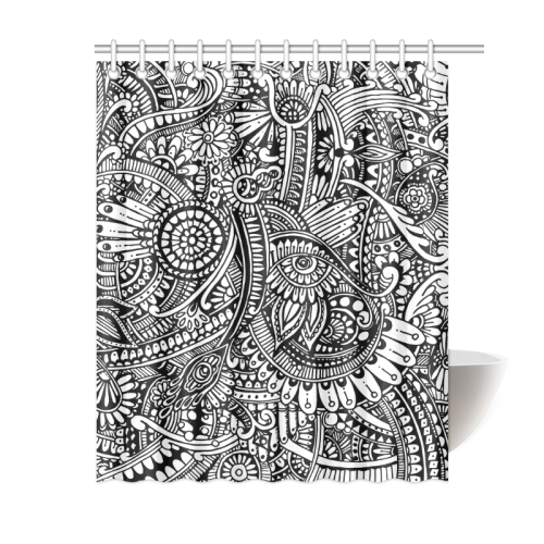 "Black & white flower pattern art Shower Curtain 60""x72"""