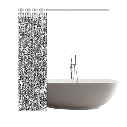 "Black & white flower pattern art Shower Curtain 66""x72"""