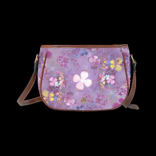 Modern abstract fractal colorful flower power Saddle Bag/Large (Model 1649)