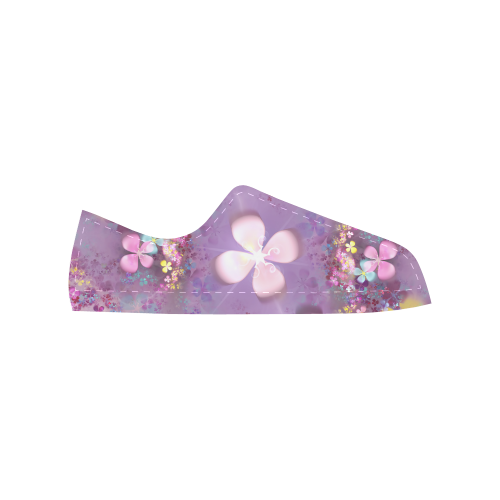 Modern abstract fractal colorful flower power Aquila Microfiber Leather Women's Shoes (Model 028)