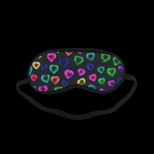 blurry neon hearts Sleeping Mask