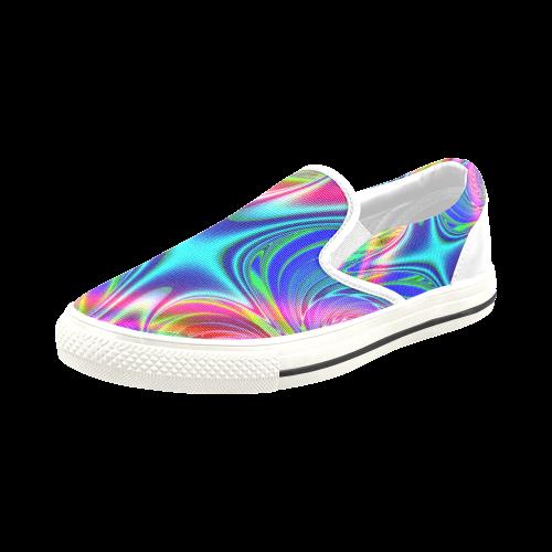 Rainbow Splash Fractal Men's Slip-on Canvas Shoes (Model 019)