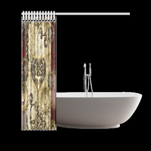 """Steampunk, golden red design Shower Curtain 69""""x70"""""""