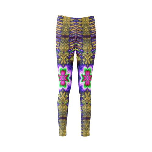 Blue and Yellow Psychedelic Flowers Cassandra Women's Leggings