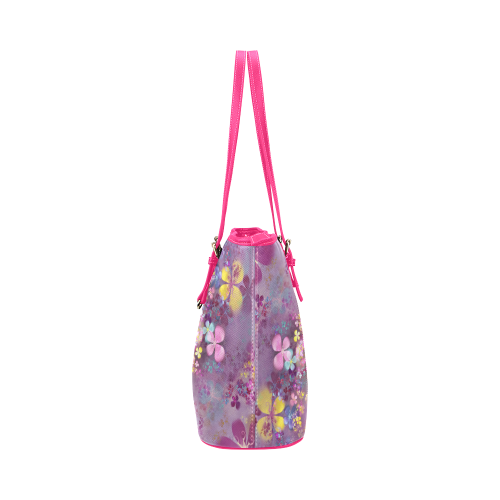 Modern abstract fractal colorful flower power Leather Tote Bag/Large (Model 1651)