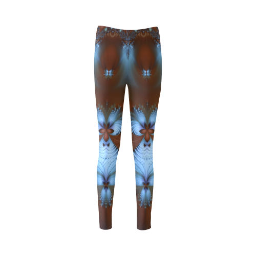 Blue Feathers on Red Cassandra Women's Leggings