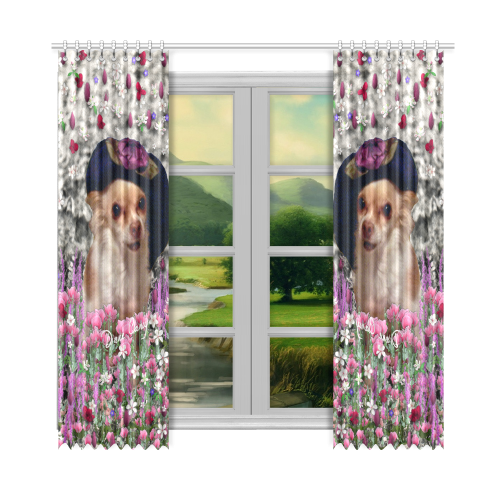 "Chi Chi in Pink White Flowers, Chihuahua Puppy Dog Window Curtain 52""x108""(Two Piece)"