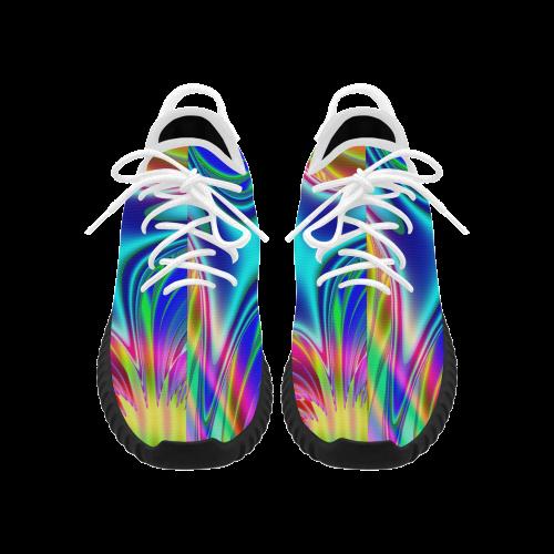 Rainbow Splash Fractal Grus Men's Breathable Woven Running Shoes (Model 022)