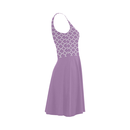 Purple Lilac Quatrefoil with solid lilac skirt, Atalanta Sundress (Model D04)