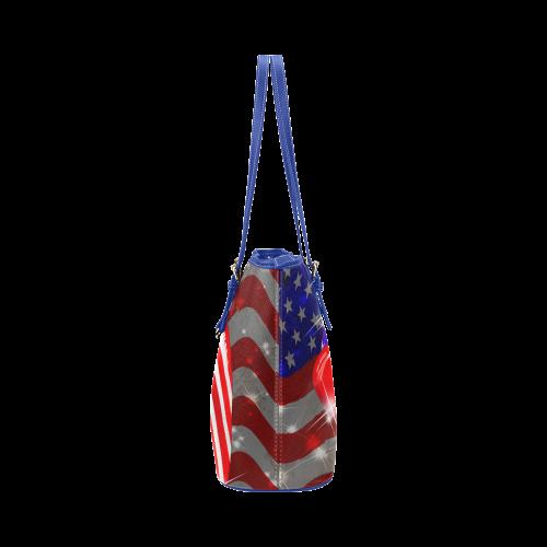 USA Flag Lipstick on Sensual Lips Leather Tote Bag/Small (Model 1651)