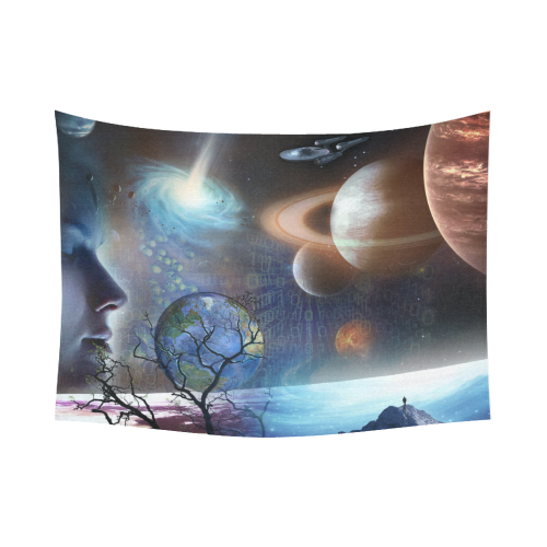 """Extraterrestrial Civilizations Cotton Linen Wall Tapestry 80""""x 60"""""""