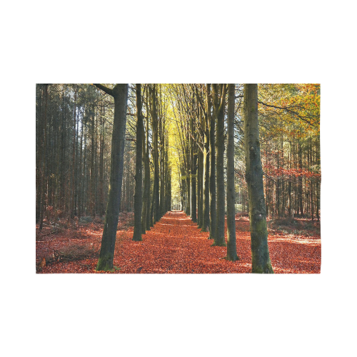 "Autumn Forest Path Cotton Linen Wall Tapestry 90""x 60"""