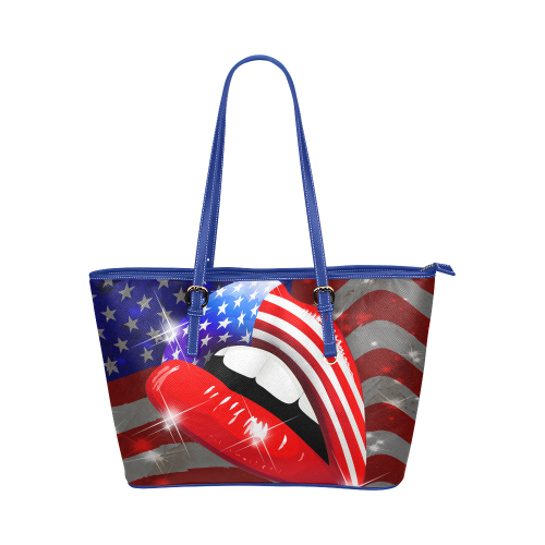 USA Flag Lipstick on Sensual Lips Leather Tote Bag/Small (Model 1651)