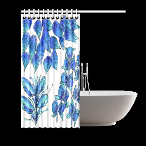 "Pretty Blue Flowers, Aqua Garden Zendoodle Shower Curtain 66""x72"""