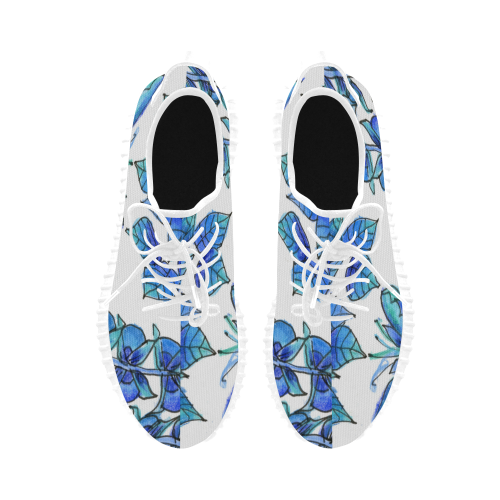 Pretty Blue Flowers, Aqua Garden Zendoodle Grus Women's Breathable Woven Running Shoes (Model 022)