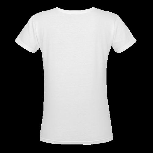 Pretty Blue Flowers, Aqua Garden Zendoodle Women's Deep V-neck T-shirt (Model T19)