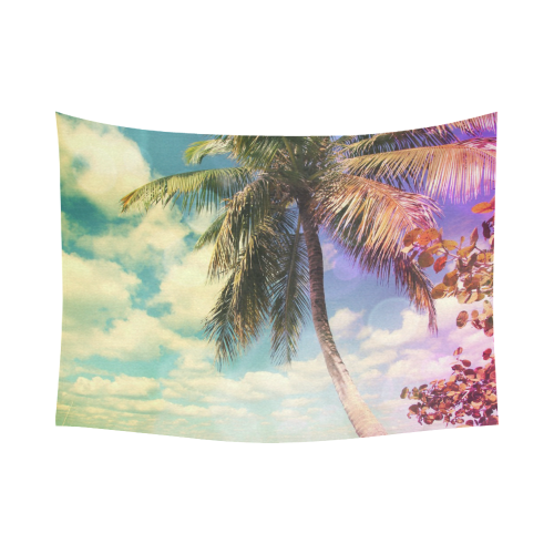 "Prismatic Palm Cotton Linen Wall Tapestry 80""x 60"""
