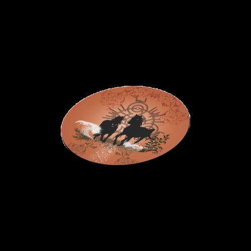 Black horses silhouette Round Coaster
