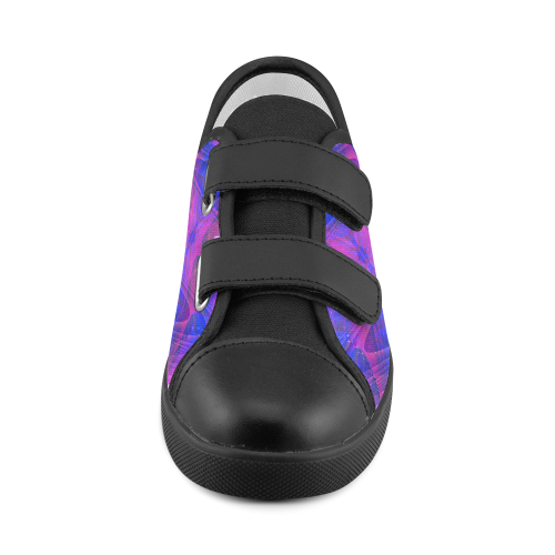 Alien Geometry Blue and Purple Velcro Canvas Kid's Shoes (Model 008)
