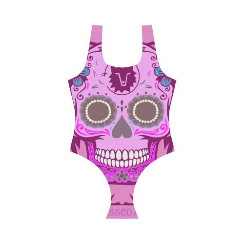 SKULL PINK Vest One Piece Swimsuit (Model S04)