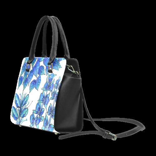 Pretty Blue Flowers, Aqua Garden Zendoodle Classic Shoulder Handbag (Model 1653)