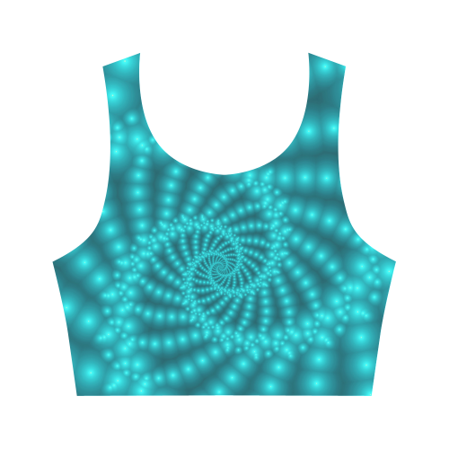 Glossy Turquoise Beads Spiral Fractal Women's Crop Top (Model T42)
