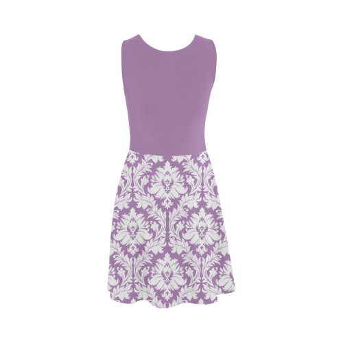 Lilac Purple Damask pattern with solid lilac top , Atalanta Sundress (Model D04)